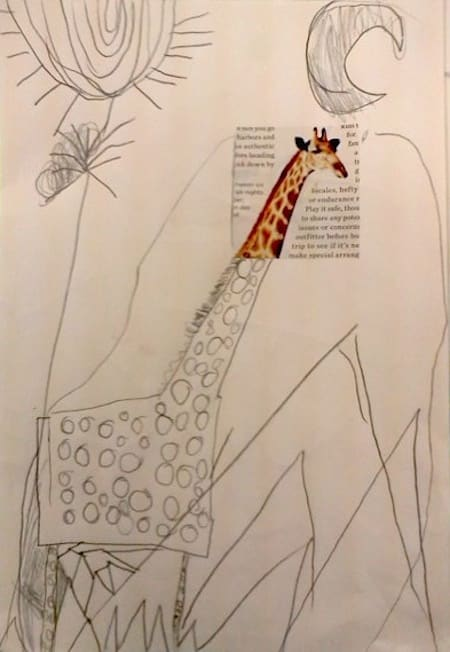 Easy art project idea for kids using magazine cut clippings -- A pencil drawing of a giraffe with a colorful head from a magazine clipping.
