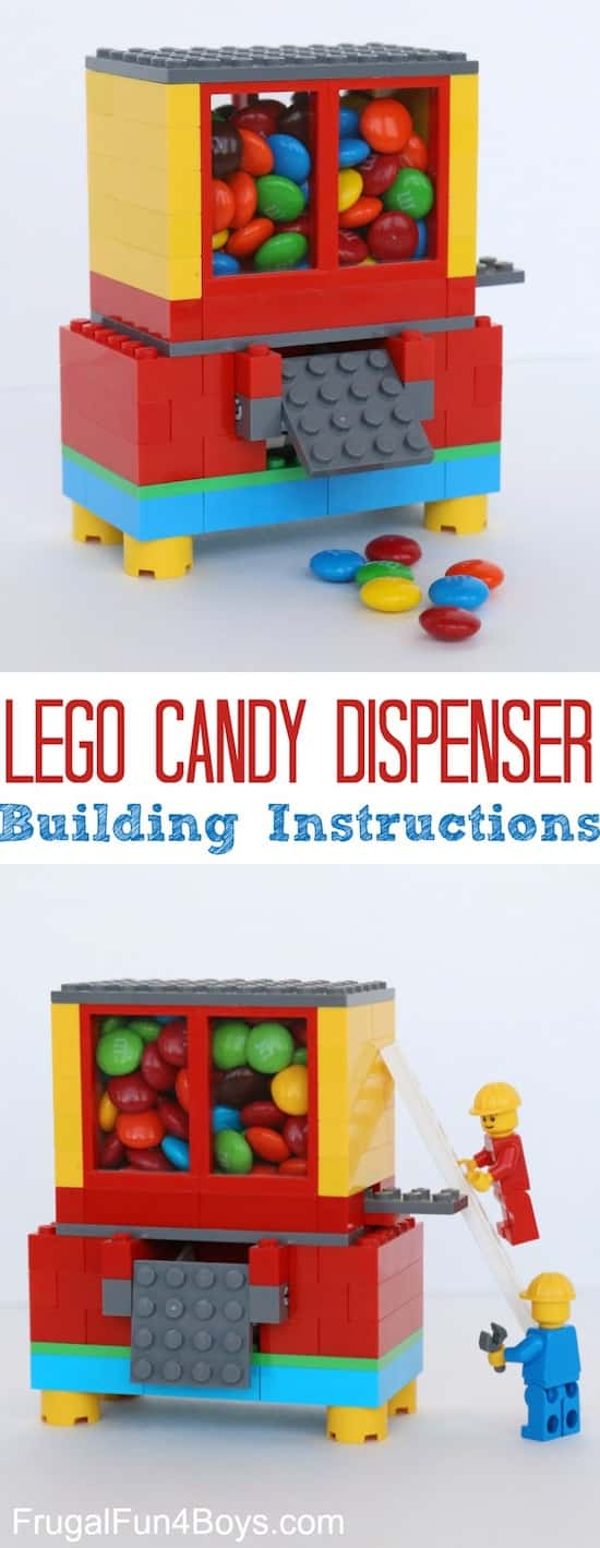 DIY Lego Candy Dispenser -- Colorful Lego candy dispenser filled with m&ms.