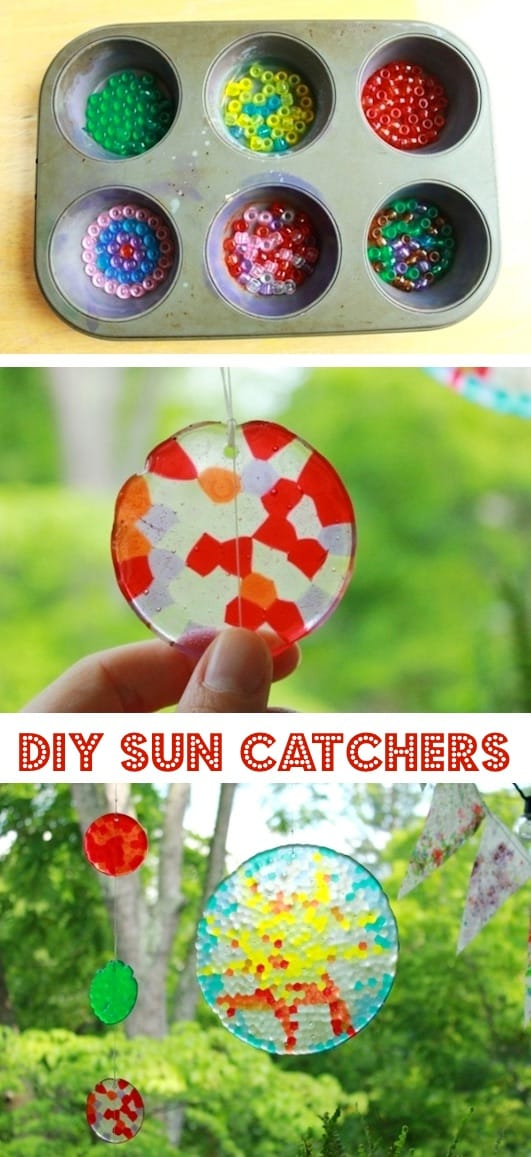 DIY Sun Catchers by melting beads in a pan in the oven and creating beautiful sun catcher masterpieces.