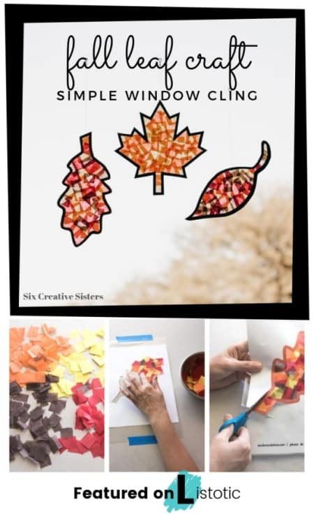 Fall leaf cut out and tissue paper window cling kids craft made with fall colors of brown, red, orange and yellow.