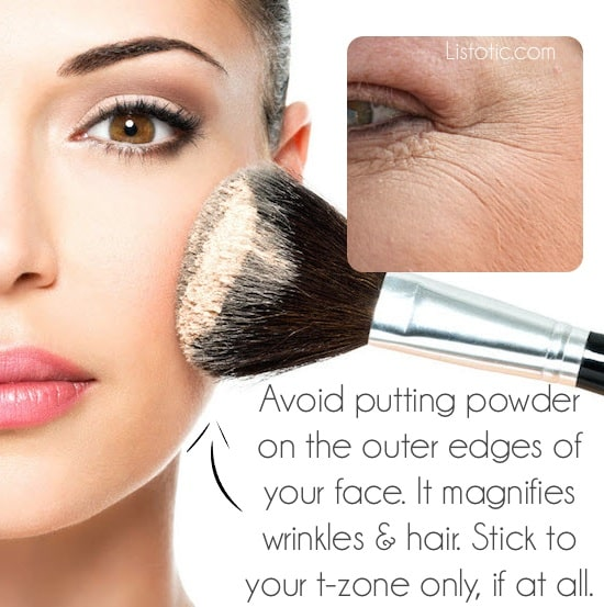 #13. Wearing face powder (in the wrong places) | 20 Beauty Mistakes You Didn't Know You Were Making