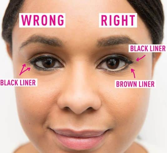 #2. Applying eyeliner wrong on your bottom lids | 20 Beauty Mistakes You Didn't Know You Were Making