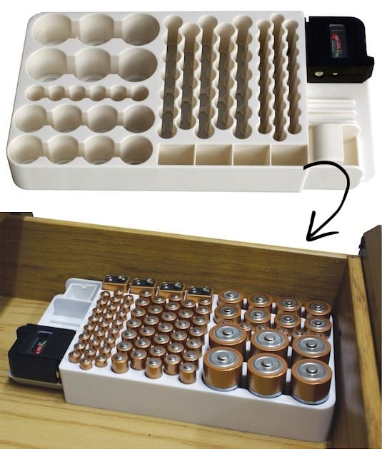 #1. Battery Organizer -- A ton of easy and cheap organization and storage ideas for the home (car too!). A lot of these are really clever storage solutions for small spaces, bedrooms, bathrooms, closets, kitchens and apartments. | Listotic.com