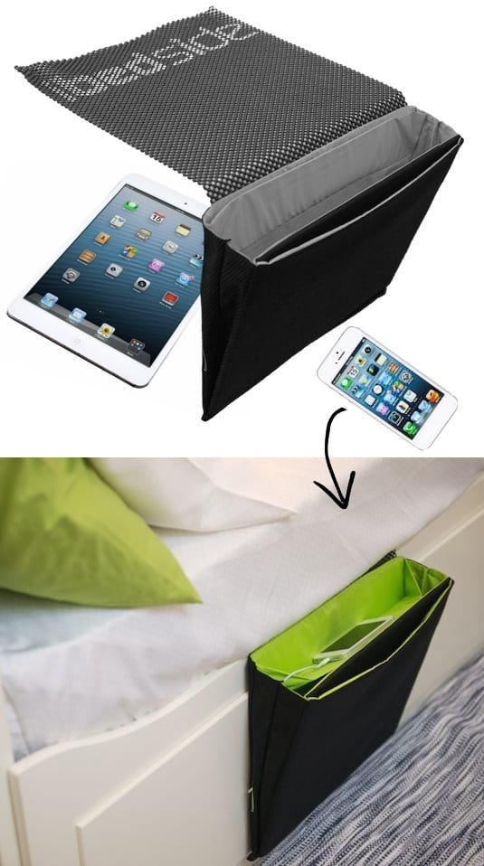 Bedside phone holder and charger -- A ton of easy and cheap organization and storage ideas for the home (car too!). A lot of these are really clever storage solutions for small spaces, bedrooms, bathrooms, closets, kitchens and apartments. | Listotic.com