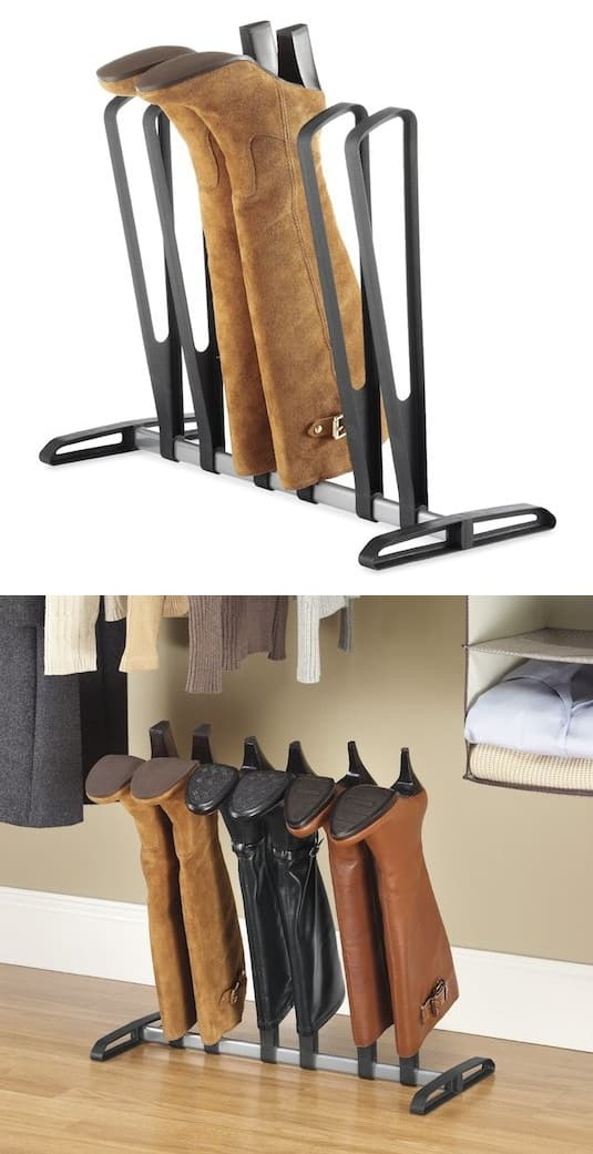 Boot storage idea for your closet -- A ton of easy and cheap organization and storage ideas for the home (car too!). A lot of these are really clever storage solutions for small spaces, bedrooms, bathrooms, closets, kitchens and apartments. | Listotic.com