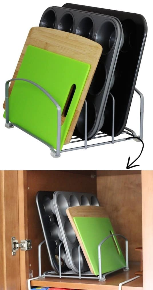 Kitchen storage idea for your cabinets (for trays and baking pans) -- A ton of easy and cheap organization and storage ideas for the home (car too!). A lot of these are really clever storage solutions for small spaces, bedrooms, bathrooms, closets, kitchens and apartments. | Listotic.com