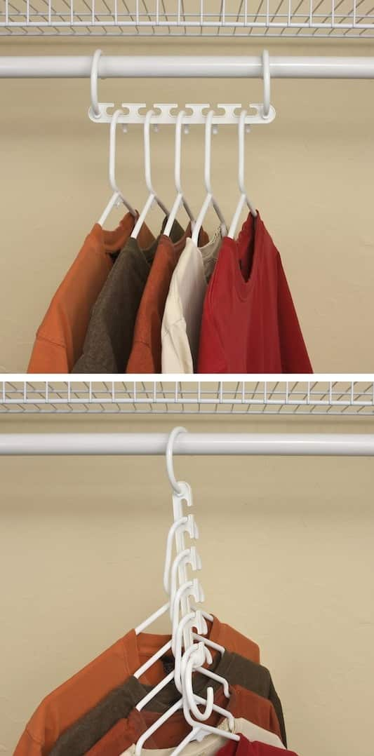 Closet storage and organization idea -- A ton of easy and cheap organization and storage ideas for the home (car too!). A lot of these are really clever storage solutions for small spaces, bedrooms, bathrooms, closets, kitchens and apartments. | Listotic.com