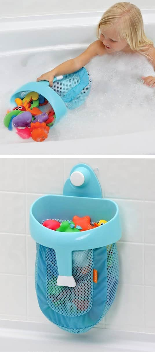 #16. Bath Toy Organizer -- A ton of easy and cheap organization and storage ideas for the home (car too!). A lot of these are really clever storage solutions for small spaces, bedrooms, bathrooms, closets, kitchens and apartments. | Listotic.com