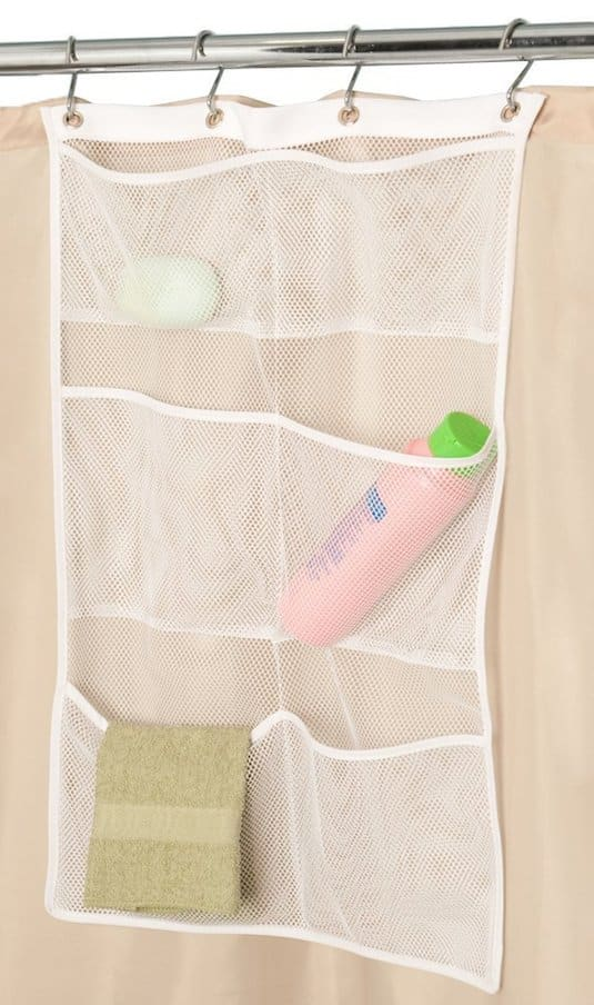 Small shower ideas and organizers -- A ton of easy and cheap organization and storage ideas for the home (car too!). A lot of these are really clever storage solutions for small spaces, bedrooms, bathrooms, closets, kitchens and apartments. | Listotic.com
