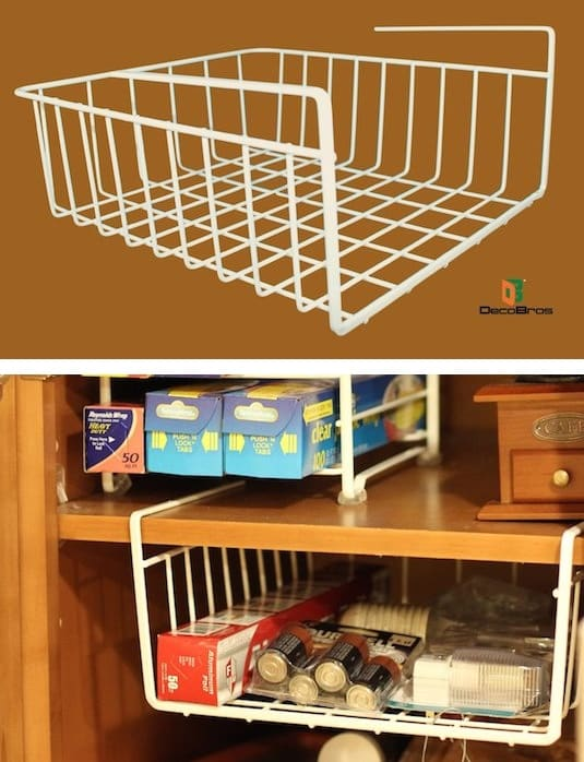 Small cabinet storage idea and solution -- A ton of easy and cheap organization and storage ideas for the home (car too!). A lot of these are really clever storage solutions for small spaces, bedrooms, bathrooms, closets, kitchens and apartments. | Listotic.com