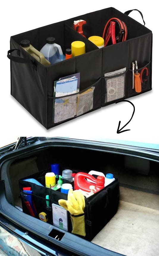 #22. Trunk Organizer and storage idea -- A ton of easy and cheap organization and storage ideas for the home (car too!). A lot of these are really clever storage solutions for small spaces, bedrooms, bathrooms, closets, kitchens and apartments. | Listotic.com