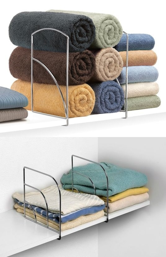Shelf Dividers organizer idea -- A ton of easy and cheap organization and storage ideas for the home (car too!). A lot of these are really clever storage solutions for small spaces, bedrooms, bathrooms, closets, kitchens and apartments. | Listotic.com