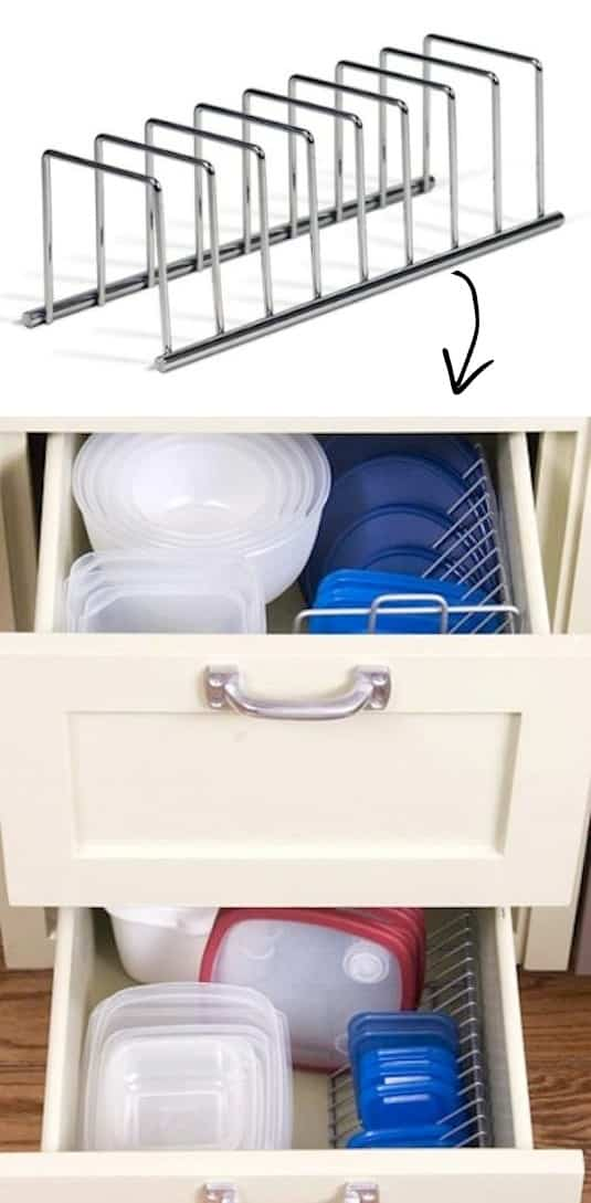 tupperware storage idea in drawers -- A ton of easy and cheap organization and storage ideas for the home (car too!). A lot of these are really clever storage solutions for small spaces, bedrooms, bathrooms, closets, kitchens and apartments. | Listotic.com