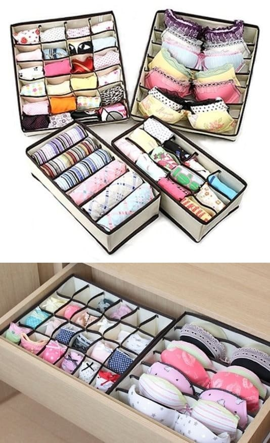 Drawer Organizers -- A ton of easy and cheap organization and storage ideas for the home (car too!). A lot of these are really clever storage solutions for small spaces, bedrooms, bathrooms, closets, kitchens and apartments. | Listotic.com
