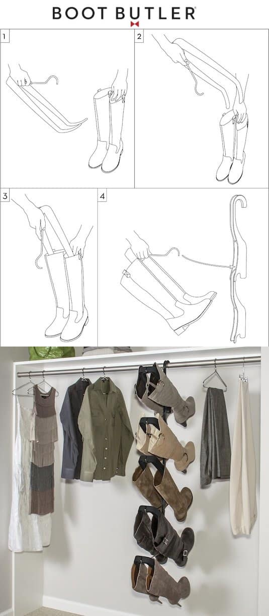 The best boot storage solution! -- A ton of easy and cheap organization and storage ideas for the home (car too!). A lot of these are really clever storage solutions for small spaces, bedrooms, bathrooms, closets, kitchens and apartments. | Listotic.com