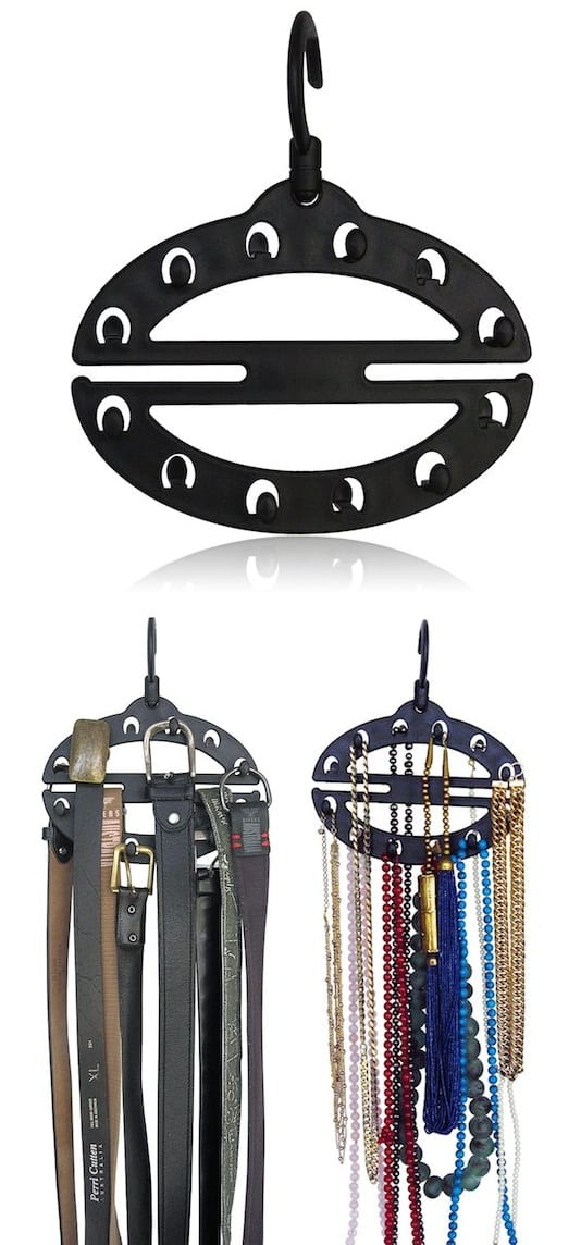Belt storage idea for small closets -- A ton of easy and cheap organization and storage ideas for the home (car too!). A lot of these are really clever storage solutions for small spaces, bedrooms, bathrooms, closets, kitchens and apartments. | Listotic.com