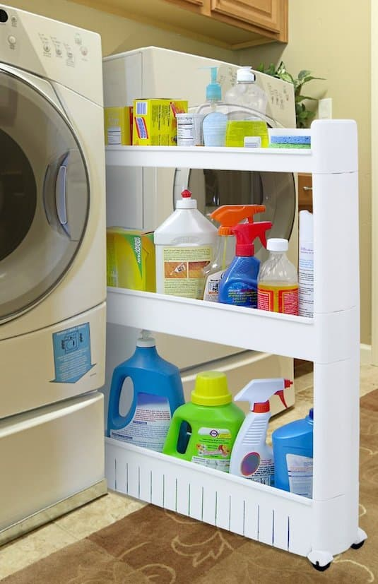 Small laundry room storage idea -- A ton of easy and cheap organization and storage ideas for the home (car too!). A lot of these are really clever storage solutions for small spaces, bedrooms, bathrooms, closets, kitchens and apartments. | Listotic.com