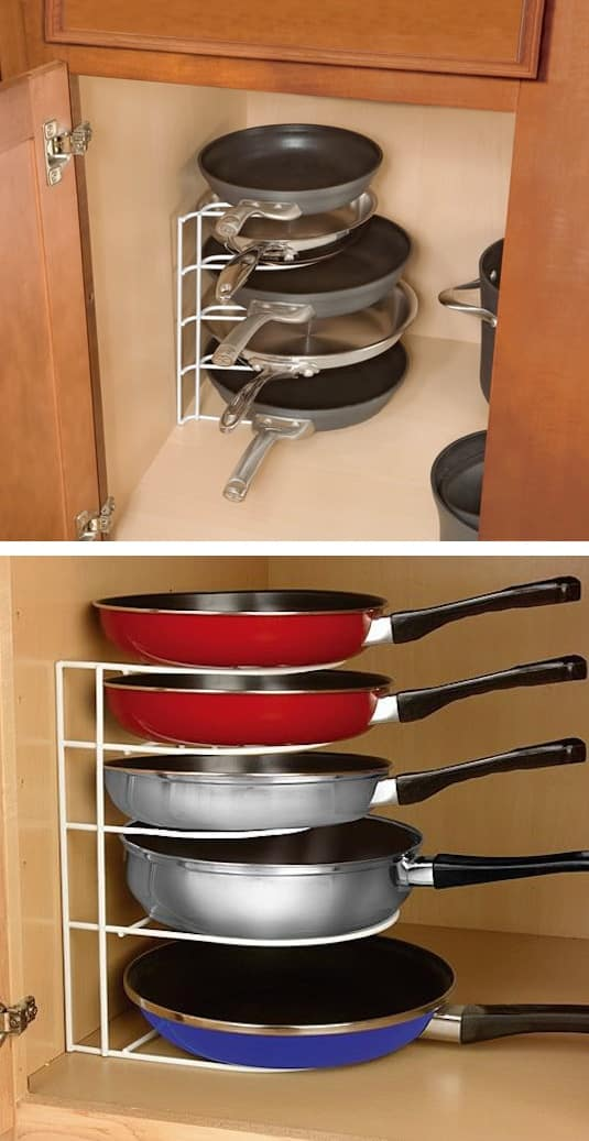 #30. Pan Organizer Rack -- 55 Genius Storage Inventions That Will Simplify Your Life - A ton of easy and cheap organization and storage ideas for the home (car too!). A lot of these are really clever storage solutions for small spaces, bedrooms, bathrooms, closets, kitchens and apartments. | Listotic.com