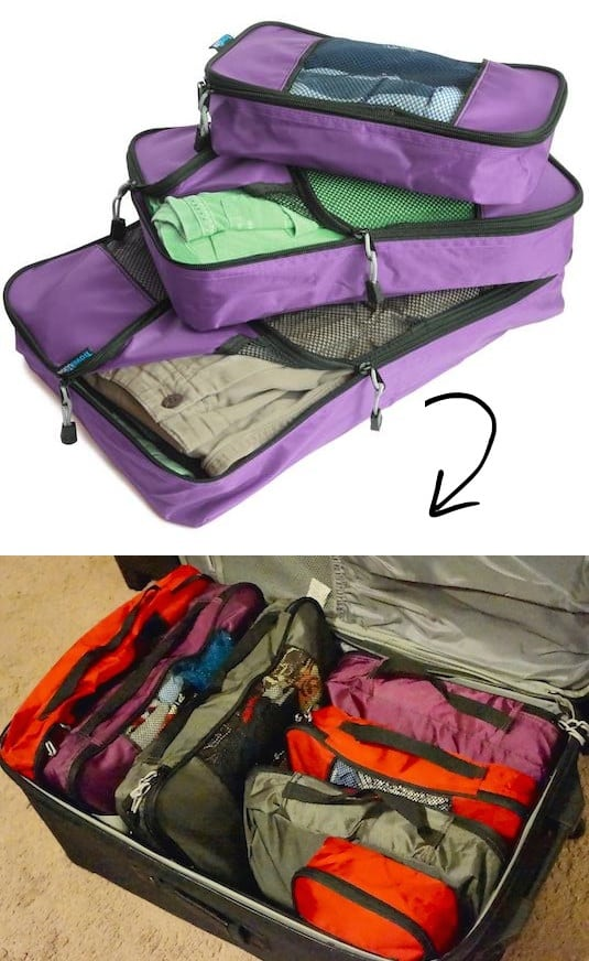 Traveling tip and bag storage and packing idea -- A ton of easy and cheap organization and storage ideas for the home (car too!). A lot of these are really clever storage solutions for small spaces, bedrooms, bathrooms, closets, kitchens and apartments. | Listotic.com