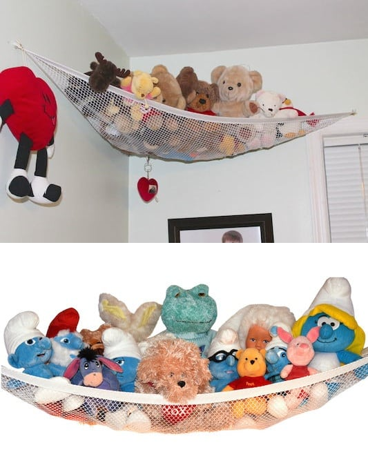 Storage idea for stuffed animals -- A ton of easy and cheap organization and storage ideas for the home (car too!). A lot of these are really clever storage solutions for small spaces, bedrooms, bathrooms, closets, kitchens and apartments. | Listotic.com