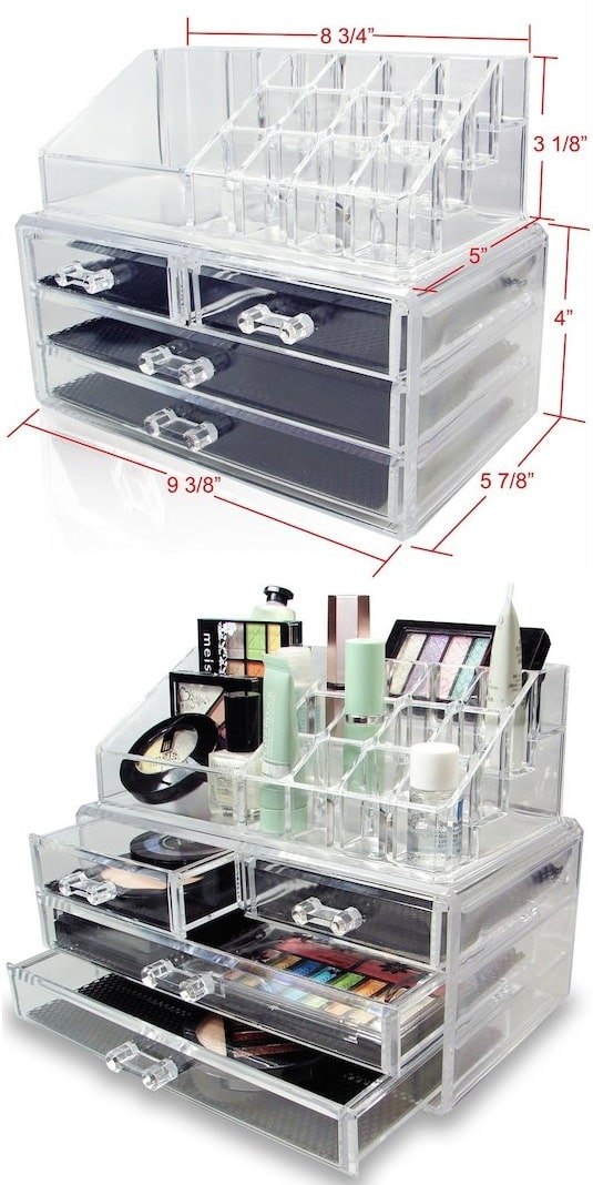 DIY makeup organization idea -- A ton of easy and cheap organization and storage ideas for the home (car too!). A lot of these are really clever storage solutions for small spaces, bedrooms, bathrooms, closets, kitchens and apartments. | Listotic.com