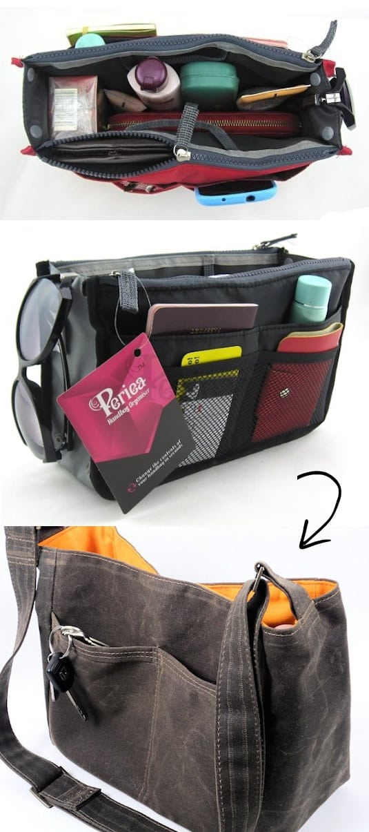 Purse Organizer Idea -- A ton of easy and cheap organization and storage ideas for the home (car too!). A lot of these are really clever storage solutions for small spaces, bedrooms, bathrooms, closets, kitchens and apartments. | Listotic.com