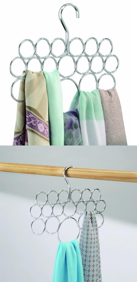 Closet organizer and Loop Scarf Holder -- A ton of easy and cheap organization and storage ideas for the home (car too!). A lot of these are really clever storage solutions for small spaces, bedrooms, bathrooms, closets, kitchens and apartments. | Listotic.com