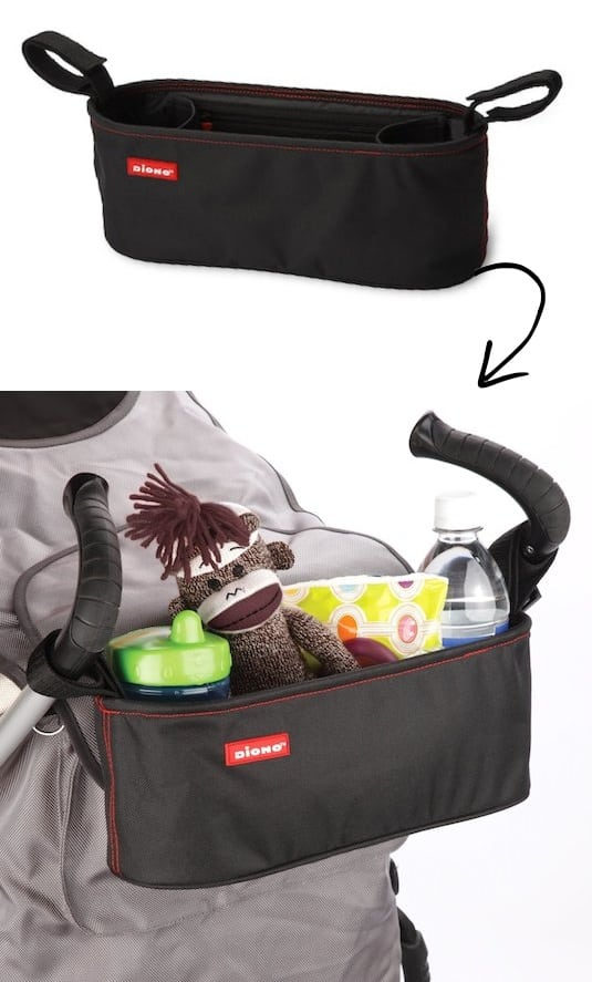 Stroller Organizer Idea -- A ton of easy and cheap organization and storage ideas for the home (car too!). A lot of these are really clever storage solutions for small spaces, bedrooms, bathrooms, closets, kitchens and apartments. | Listotic.com