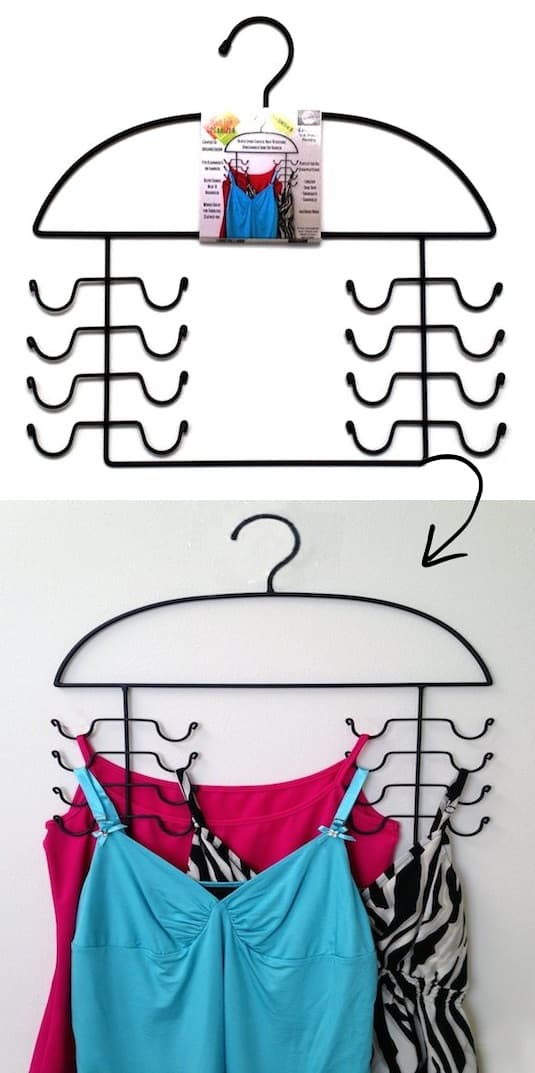 Tank Top Organizer (saves space in the closet!) -- A ton of easy and cheap organization and storage ideas for the home (car too!). A lot of these are really clever storage solutions for small spaces, bedrooms, bathrooms, closets, kitchens and apartments. | Listotic.com