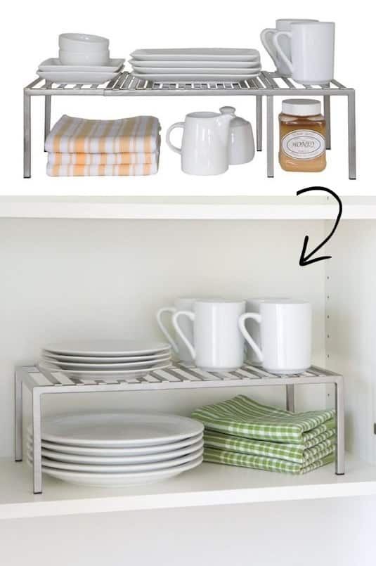 Cabinet storage ideas and organizing tips -- A ton of easy and cheap organization and storage ideas for the home (car too!). A lot of these are really clever storage solutions for small spaces, bedrooms, bathrooms, closets, kitchens and apartments. | Listotic.com