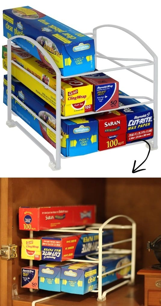 Kitchen Wrap Storage Organizing Idea and holder -- A ton of easy and cheap organization and storage ideas for the home (car too!). A lot of these are really clever storage solutions for small spaces, bedrooms, bathrooms, closets, kitchens and apartments. | Listotic.com