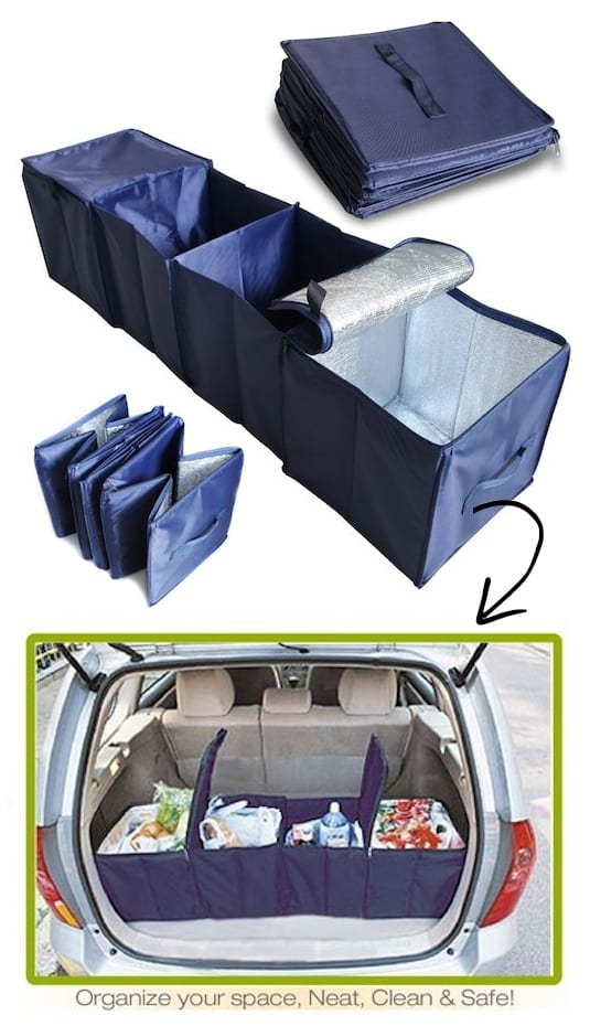 #8. Vehicle Compartment Storage and trunk organizer (keeps your groceries cold, too!) -- A ton of easy and cheap organization and storage ideas for the home (car too!). A lot of these are really clever storage solutions for small spaces, bedrooms, bathrooms, closets, kitchens and apartments. | Listotic.com