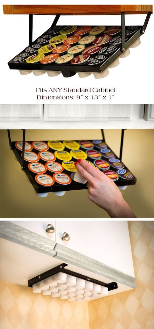 #9. Under-Cabinet K Cup Storage Idea -- A ton of easy and cheap organization and storage ideas for the home (car too!). A lot of these are really clever storage solutions for small spaces, bedrooms, bathrooms, closets, kitchens and apartments. | Listotic.com