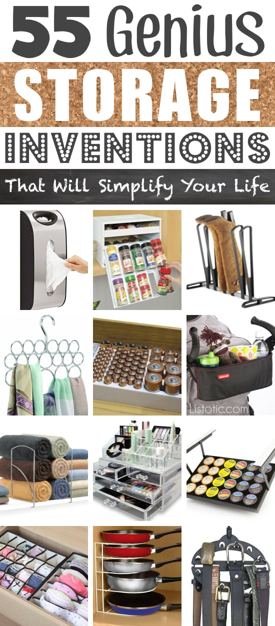A ton of easy and cheap organization and storage ideas for the home (car too!). A lot of these are really clever storage solutions for small spaces, bedrooms, bathrooms, closets, kitchens and apartments. | Listotic.com
