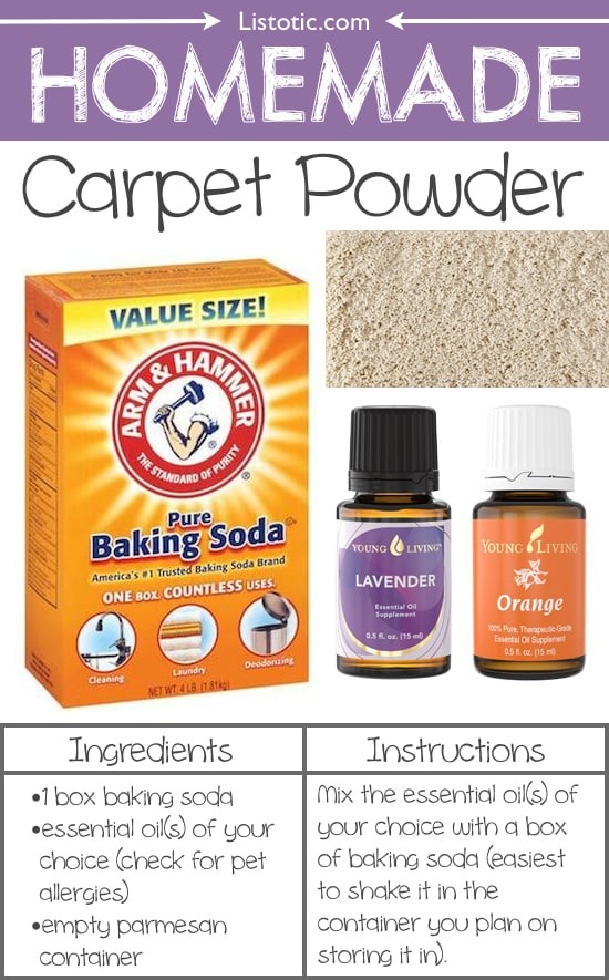 #10. Homemade Carpet Powder -- 22 Everyday Products You Can Easily Make From Home (for less!) These are all so much healthier, too!
