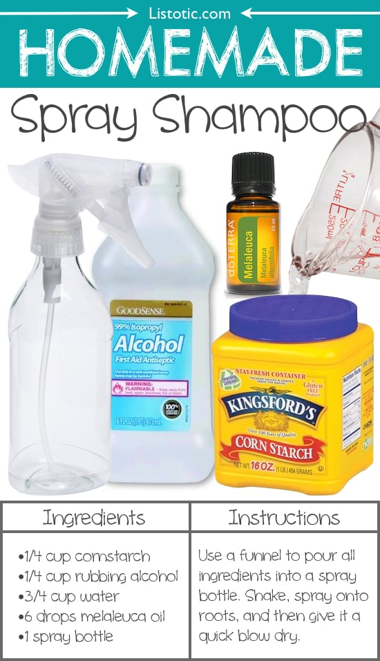 #22. Homemade Spray Shampoo -- use cornstarch, rubbing alcohol, water, and melaleuca oil.