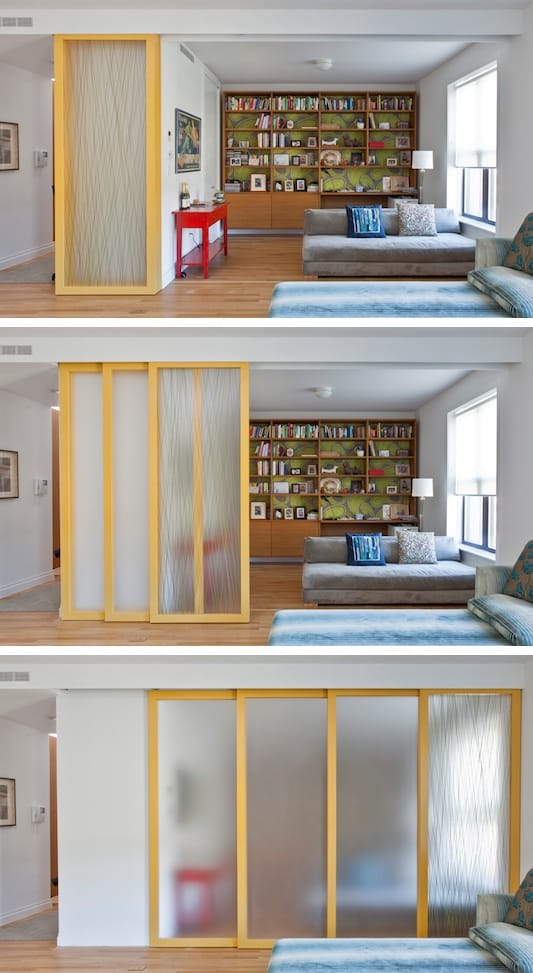 #12. Install sliding walls! (for privacy while maintaining an open feel) | A ton of clever hacks and storage ideas for small spaces, homes and apartments! Small bedroom, bathroom, living room and kitchen ideas on a budget (DIY and cheap). Small space living isn't so bad! Even with kids. Listotic.com