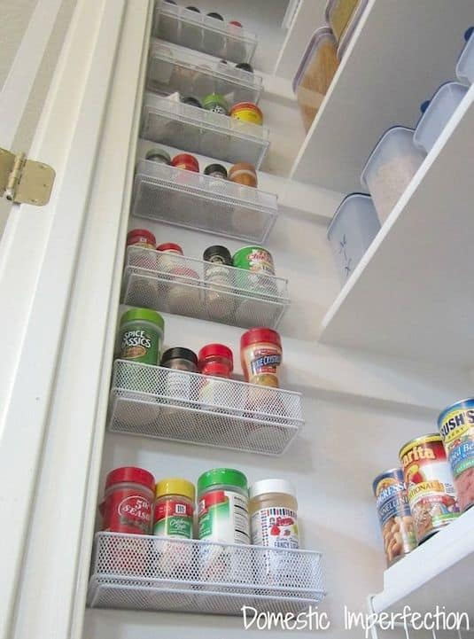 #16. Utilize the empty wall space in your pantry! Pantry tips and ideas. | 29 Sneaky Tips For Small Space Living -- A ton of clever hacks and storage ideas for small spaces, homes and apartments! Small bedroom, bathroom, living room and kitchen ideas on a budget (DIY and cheap). Small space living isn't so bad! Even with kids. Listotic.com