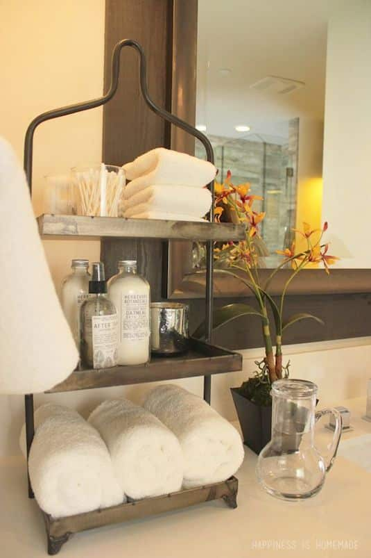 #17. Use tiered storage for small counter tops! | 29 Sneaky Tips For Small Space Living-- A ton of clever hacks and storage ideas for small spaces, homes and apartments! Small bedroom, bathroom, living room and kitchen ideas on a budget (DIY and cheap). Small space living isn't so bad! Even with kids. Listotic.com
