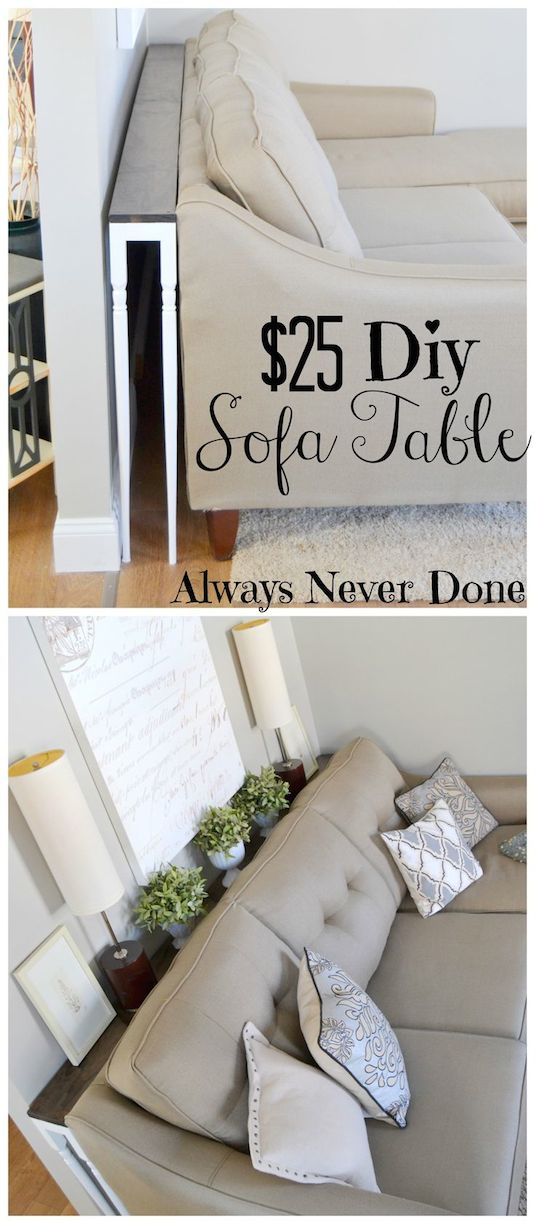 #20. Build a narrow sofa table to place behind your couch! A ton of clever hacks and storage ideas for small spaces, homes and apartments! Small bedroom, bathroom, living room and kitchen ideas on a budget (DIY and cheap). Small space living isn't so bad! Even with kids. Listotic.com