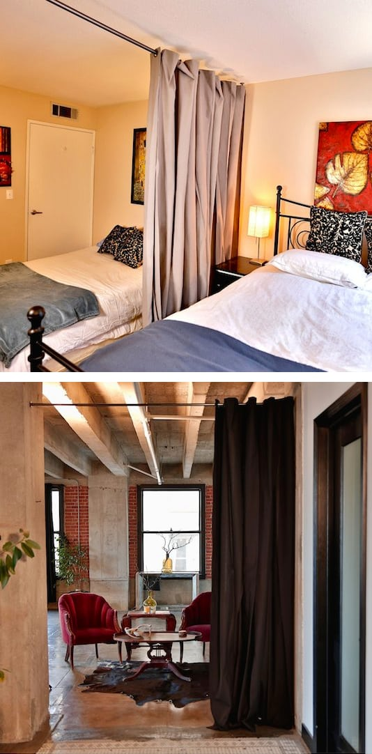 #21. Curtain room dividers. | A ton of clever hacks and storage ideas for small spaces, homes and apartments! Small bedroom, bathroom, living room and kitchen ideas on a budget (DIY and cheap). Small space living isn't so bad! Even with kids. Listotic.com