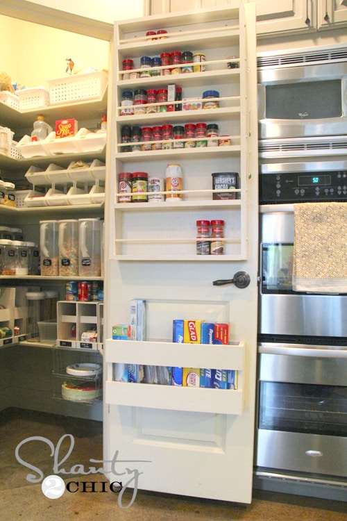 #22. Make extra pantry shelving on the inside of the door! (the best pantry organization) | 29 Sneaky Tips For Small Space Living -- A ton of clever hacks and storage ideas for small spaces, homes and apartments! Small bedroom, bathroom, living room and kitchen ideas on a budget (DIY and cheap). Small space living isn't so bad! Even with kids. Listotic.com