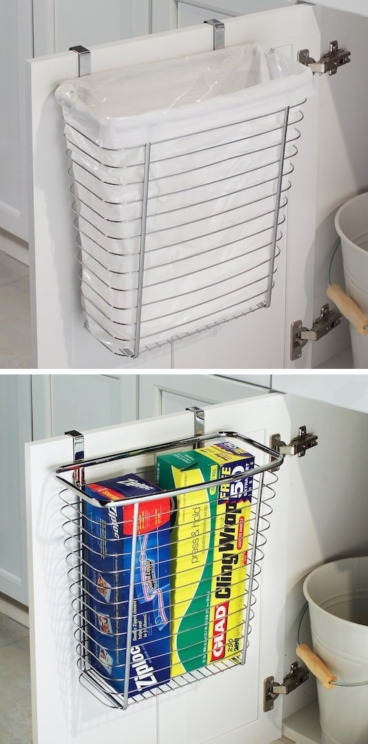 #23. Use the back of a bathroom cabinet door for your trash can! | A ton of clever hacks and storage ideas for small spaces, homes and apartments! Small bedroom, bathroom, living room and kitchen ideas on a budget (DIY and cheap). Small space living isn't so bad! Even with kids. Listotic.com