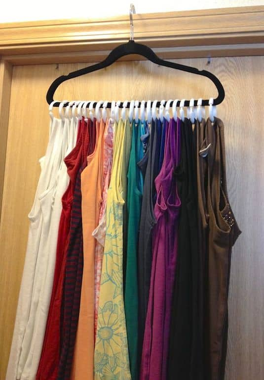 #24. Tank top space saver! Use shower rings in place of more than a dozen hangers. The best closet organization ideas... | A ton of clever hacks and storage ideas for small spaces, homes and apartments! Small bedroom, bathroom, living room and kitchen ideas on a budget (DIY and cheap). Small space living isn't so bad! Even with kids. Listotic.com