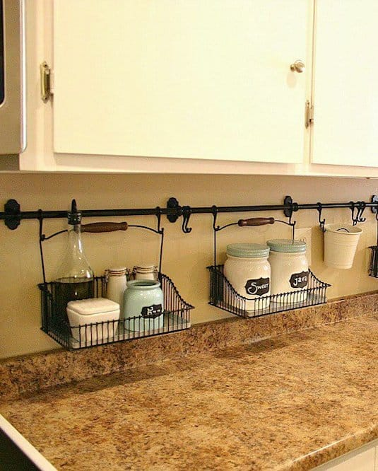 #25. Use your backsplash to store things that would otherwise be taking up valuable counter space! | 29 Sneaky Tips For Small Space Living