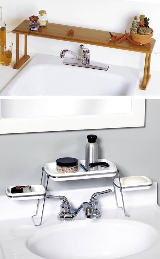 #28. Above the faucet shelf. Creates extra counter space! | A ton of clever hacks and storage ideas for small spaces, homes and apartments! Small bedroom, bathroom, living room and kitchen ideas on a budget (DIY and cheap). Small space living isn't so bad! Even with kids. Listotic.com