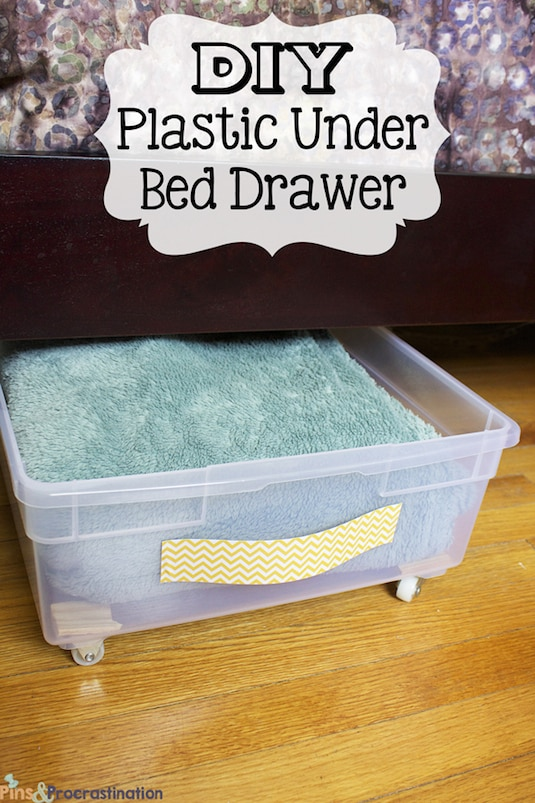 #9. Make your own sliding storage bins for under the bed! | A ton of clever hacks and storage ideas for small spaces, homes and apartments! Small bedroom, bathroom, living room and kitchen ideas on a budget (DIY and cheap). Small space living isn't so bad! Even with kids. Listotic.com