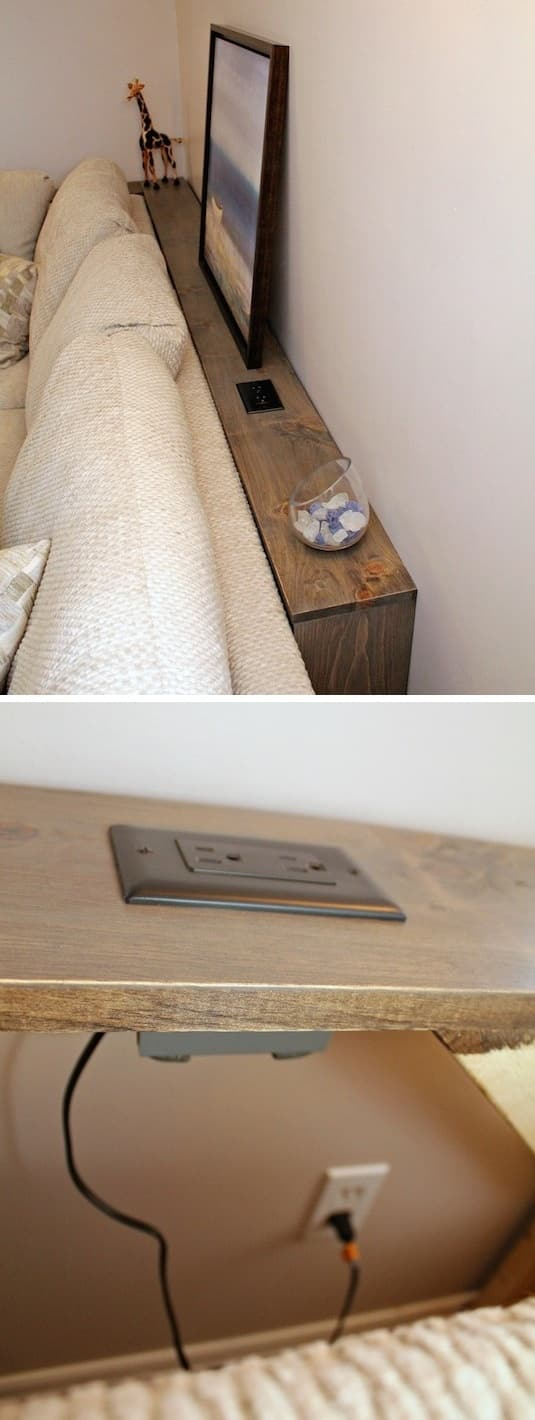 Small space idea for the living room! A skinny table with a built-in outlet for behind the couch. A ton of clever hacks and storage ideas for small spaces, homes and apartments! Small bedroom, bathroom, living room and kitchen ideas on a budget (DIY and cheap). Small space living isn't so bad! Even with kids. Listotic.com