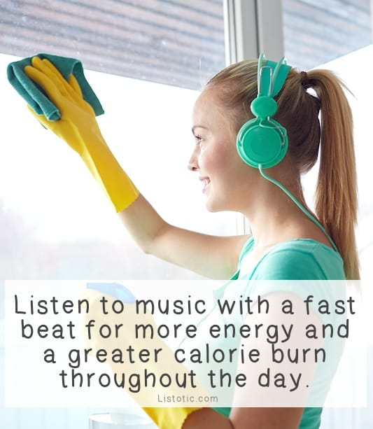 #11. Listen to upbeat music. -- 11 Sneaky Ways To Burn More Calories Every Day