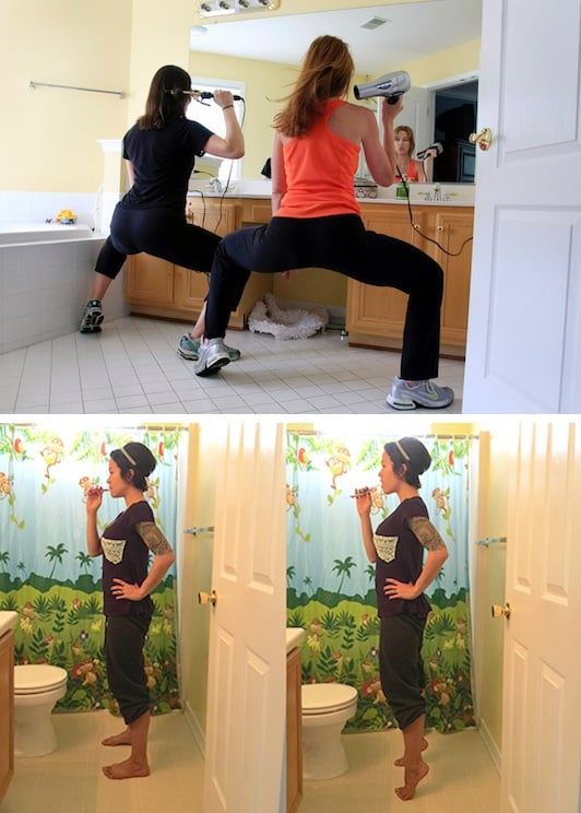 #9. Do squat holds and calf raises while getting ready. -- 11 Sneaky Ways To Burn More Calories Every Day